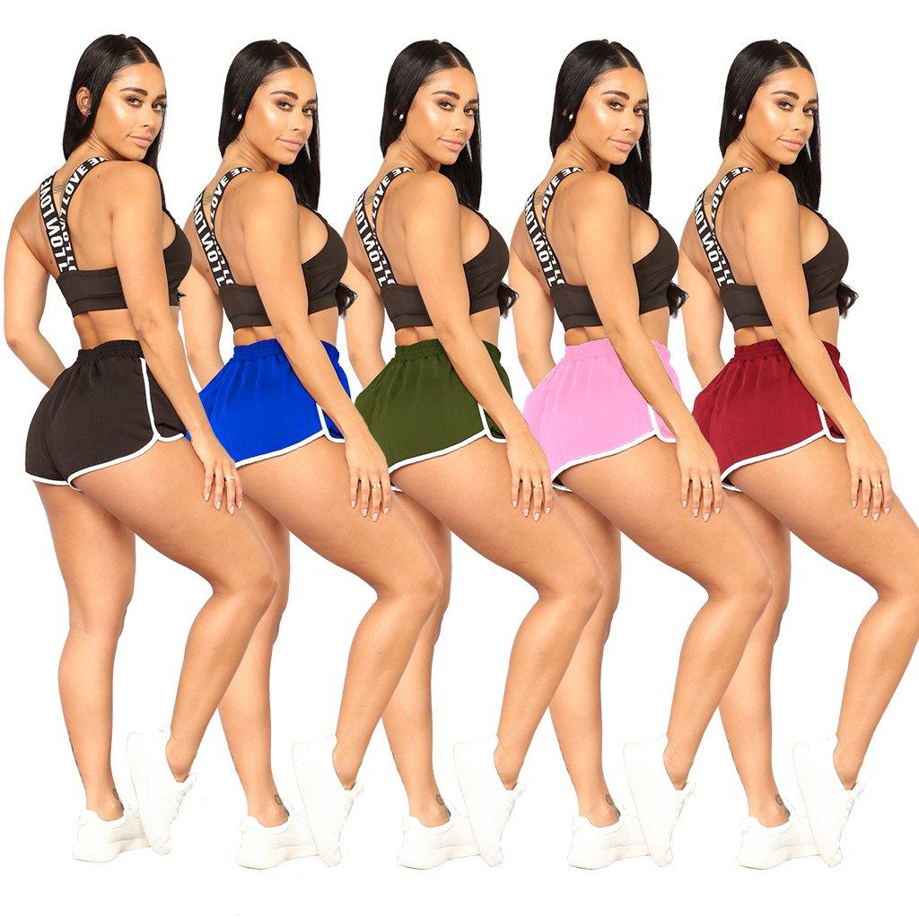Women\'s Summer Sports Shorts Activewear Gym Yoga Workout Drawstring Skinny Mini Short Pants X-Large Pink