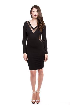 301d6c0f486b Bela Criacao Women's Cherie Long Sleeve Deep V-Neck Knit Dress 2 Black