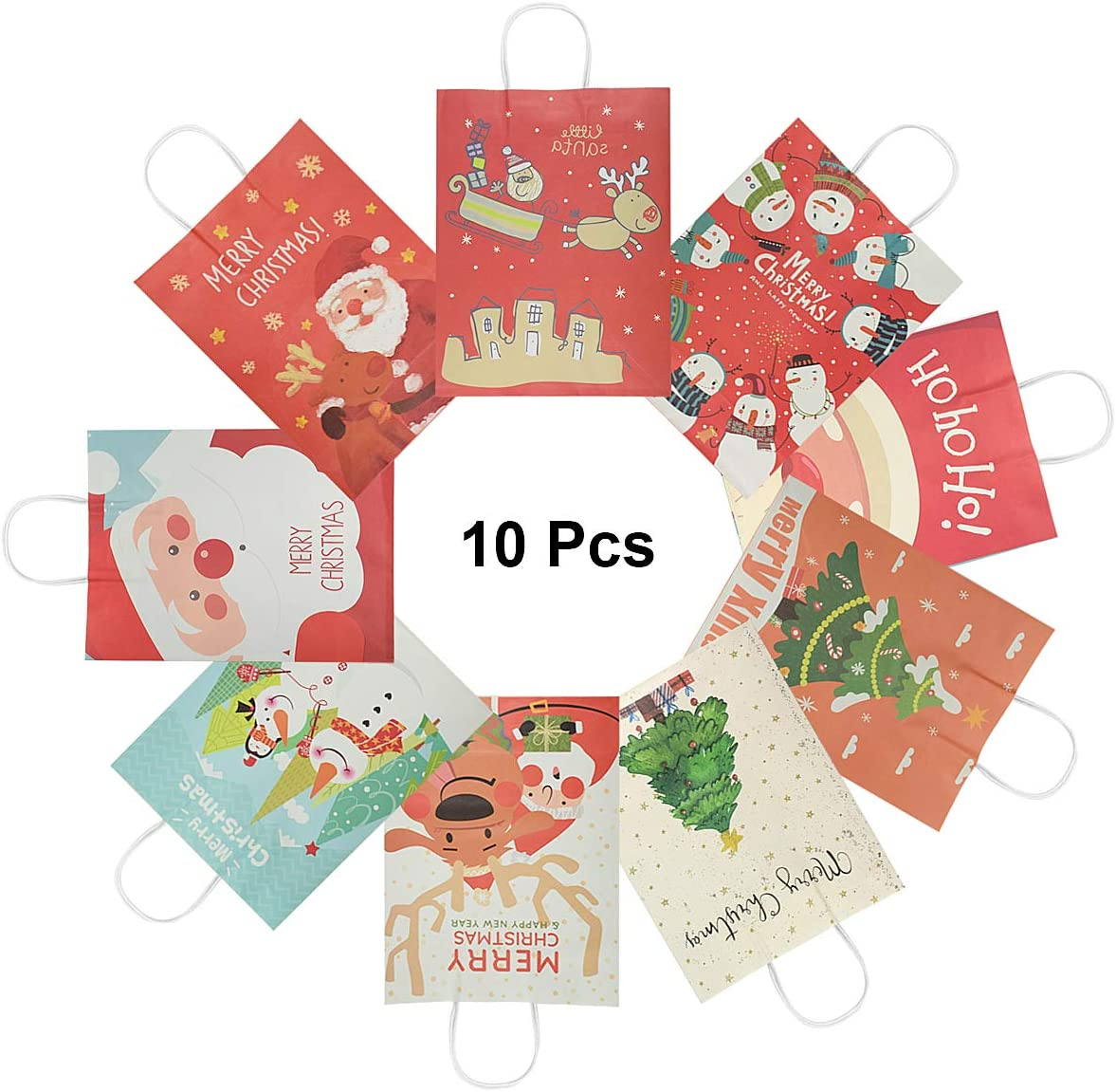Retail Bags Paper Party Bags Kraft Bag with Handle for Christmas Wedding and Party Celebrations Birthday Tea Party RIOGOO 10 PCS Christmas Gift Bags