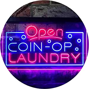 """ADVPRO Open Coin-op Laundry Shop Dual Color LED Neon Sign Blue & Red 24"""" x 16"""" st6s64-i3606-br"""