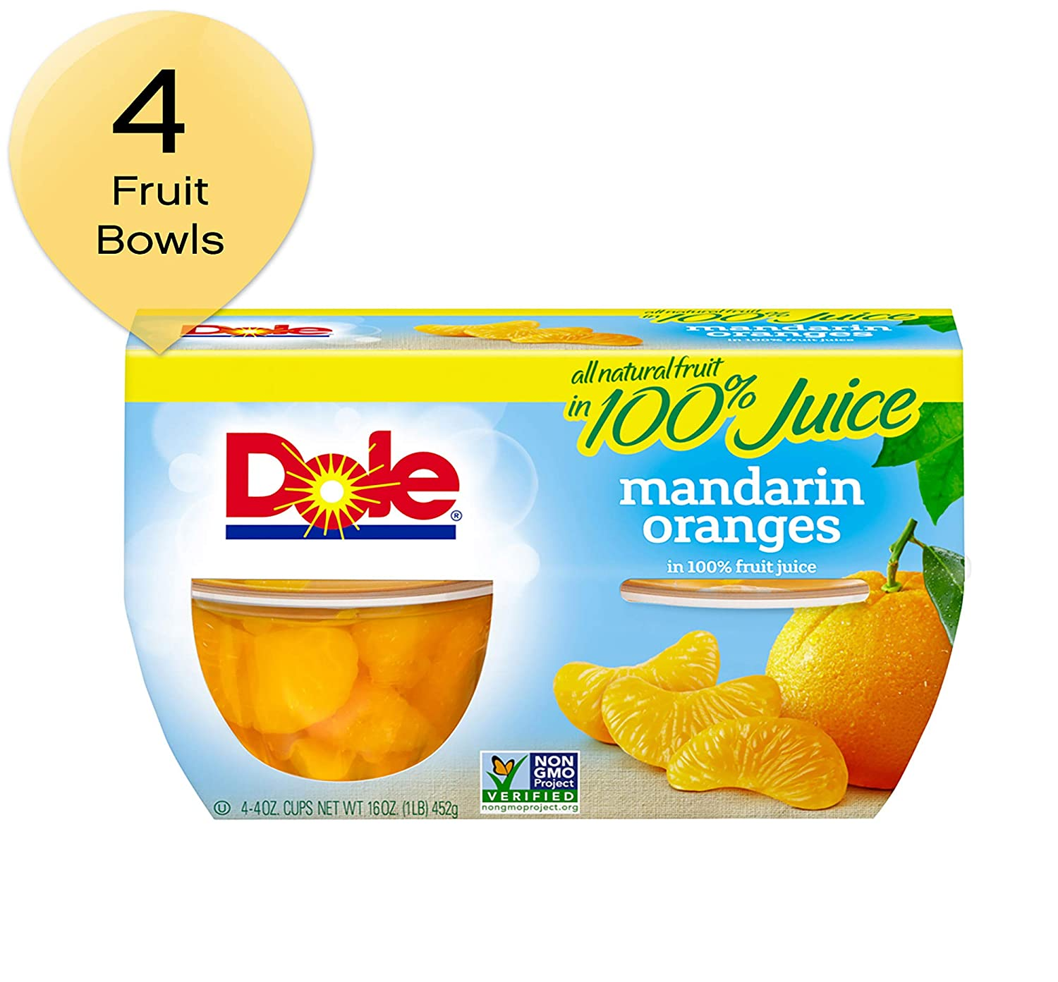 DOLE FRUIT BOWLS, Mandarin Oranges in 100% Fruit Juice, 4 Ounce (4 Cups)