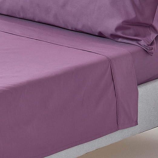 HOMESCAPES Sábana encimera 100% algodón Egipcio 200 Hilos 240 x 275 Color Morado: Amazon.es: Hogar