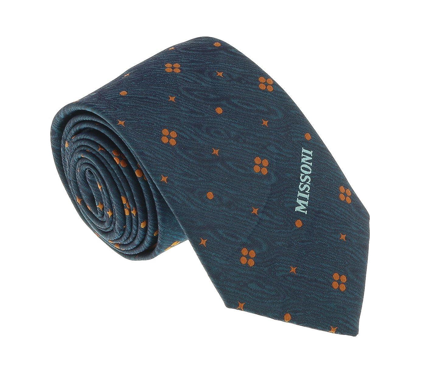 Missoni U5574 Green//Gold Geometric 100/% Silk Tie for mens