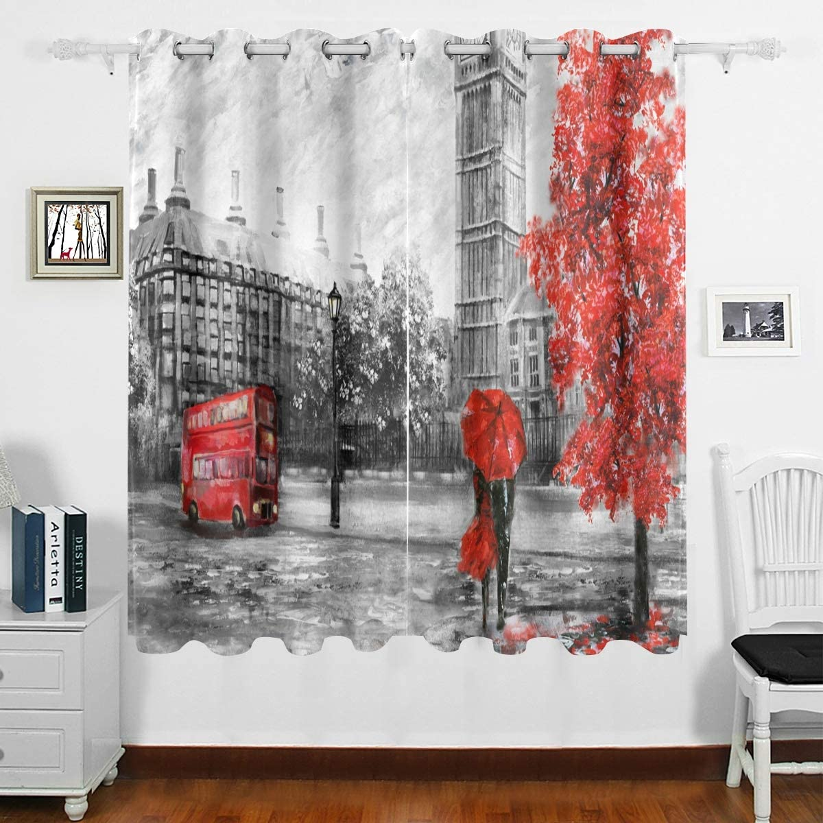 DOMIKING Bedroom Blackout Curtain for Window - Street View of London Big Ben Thermal Insulated Curtain Grommet Drapes Home Decoration for Bedroom Living Room(63x55inch)