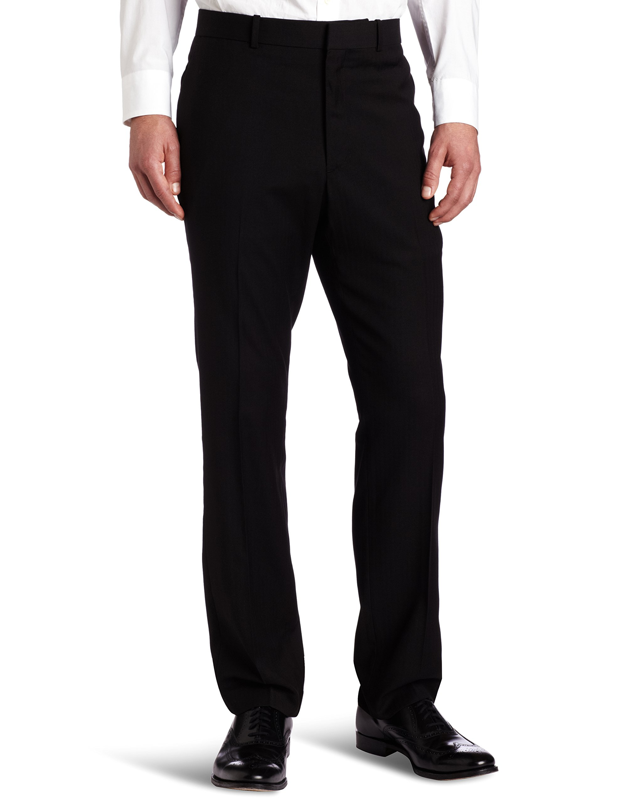 Perry Ellis Men's Solid herringbone Slim Fit Pant, Black Ice, 28x30