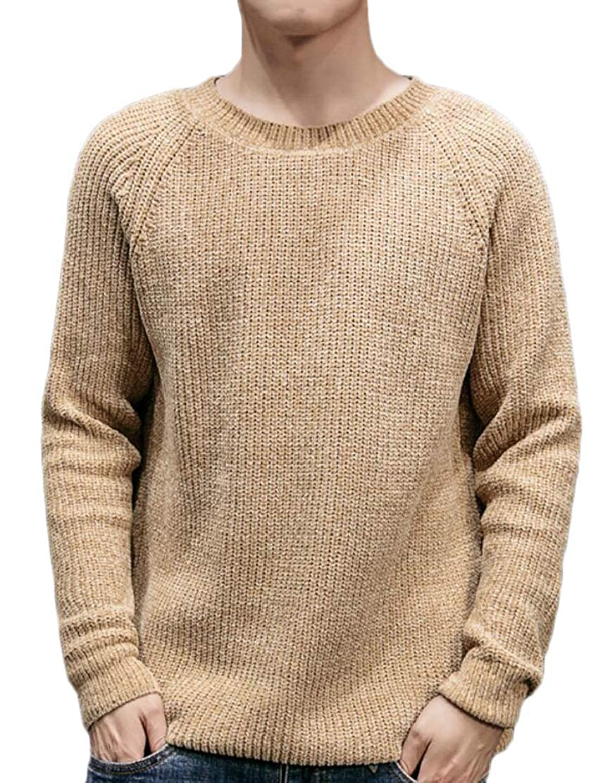 YONGM Mens Casual Knitted Crew Neck Long Sleeve Pullover Sweater