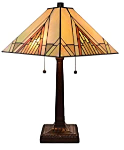 """Amora Lighting Tiffany Style Table Lamp Banker Mission 23"""" Tall Stained Glass Tan Brown Vintage Antique Light Décor Night Stand Living Room Bedroom Handmade Gift AM348TL14, Multicolor"""