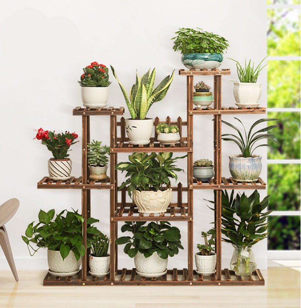 木製植物フラワーディスプレイスタンド木製ポットシェルフストレージラック屋外屋内7ポットホルダー112 * 25 * 110cm (色 : 2) B07F391SN8 2 2