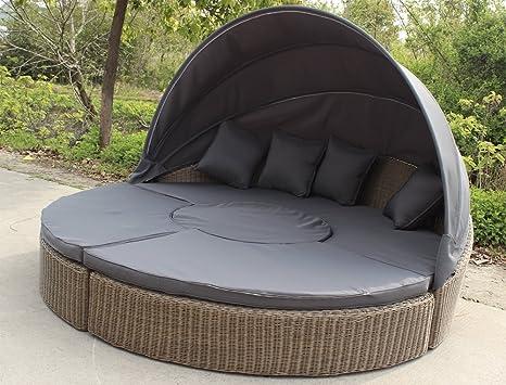 Lounge Rattan Rundgeflecht Gartengarnitur Gartenmöbel Sonneninsel