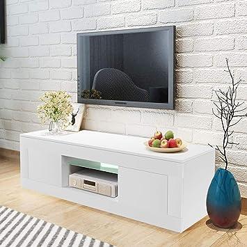 WISFORBEST Mueble TV LED Mueble de Salón Moderno Gabinete para Televisión hasta 60 Pulgadas con 2 Cajones Grandes y Estante de Vidrio Carga Máx 60kg ...