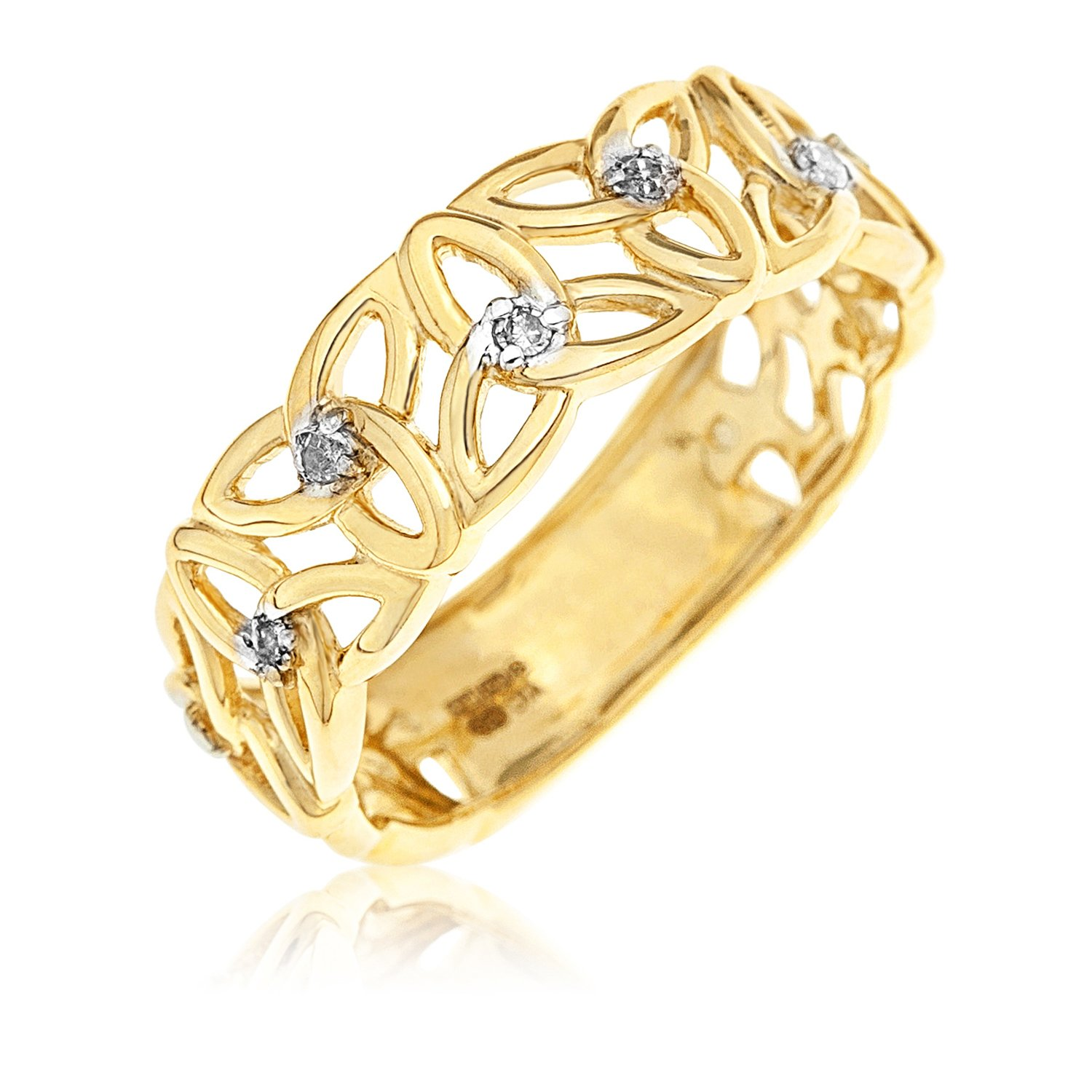 Kareco 9ct Yellow Gold Ladies 5 Point Diamond Set Linked Celtic Trinity Knot Ring 0G8wW4