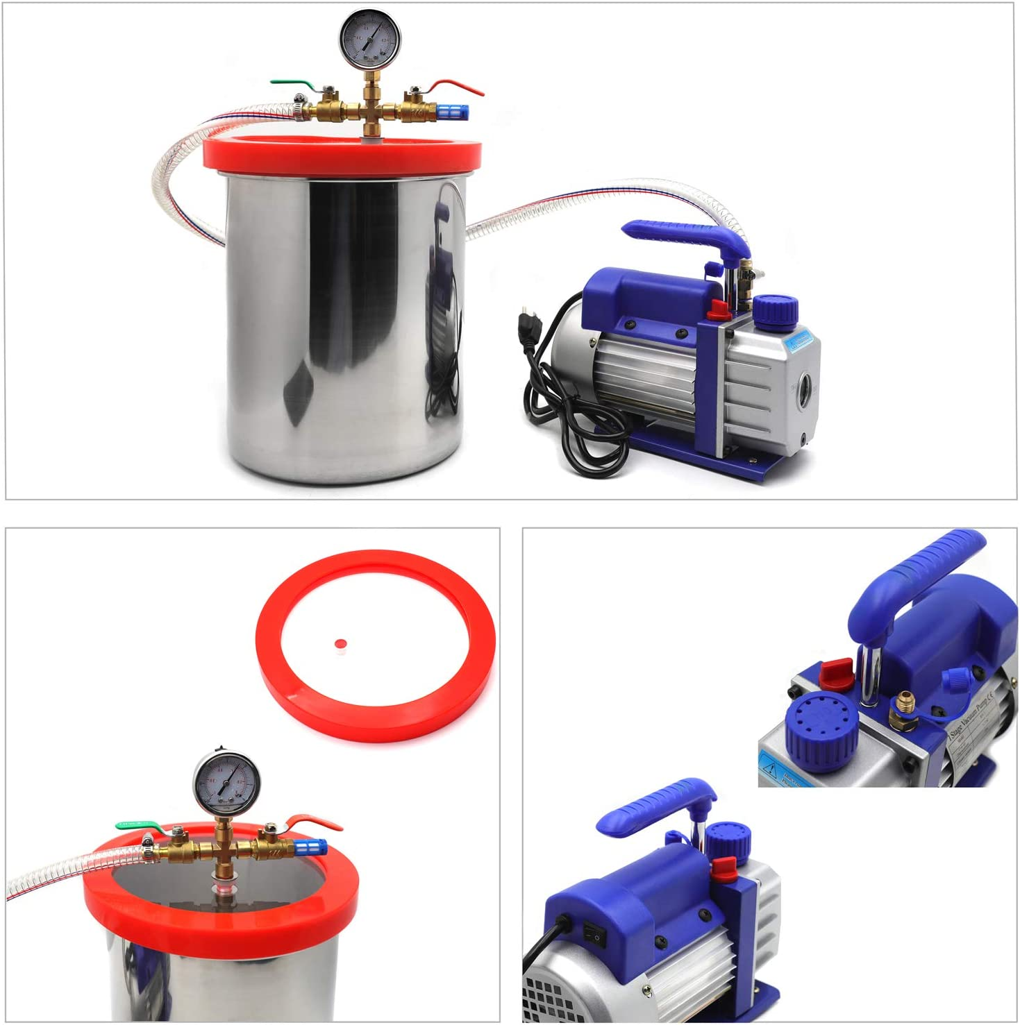 XKMT- 3 Gallon Vacuum Chamber Kit With 3CFM Degassing Silicone Single Stage Pump Air AC Kit [P/N: ET-TOOL009-RAW]