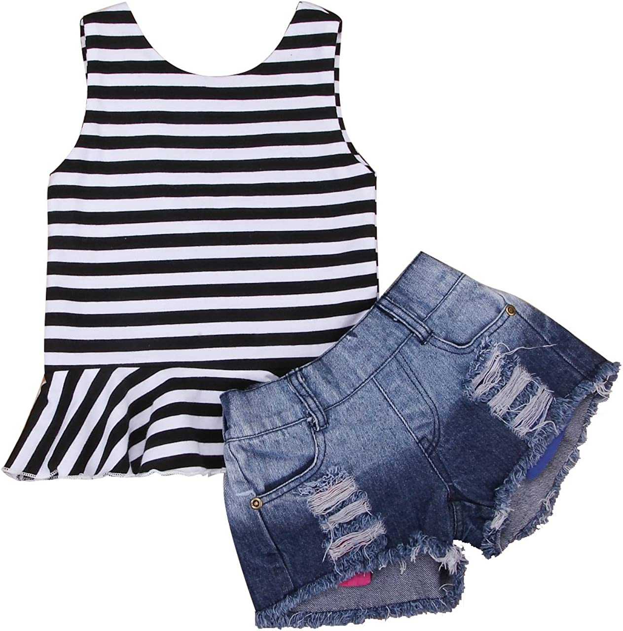 Summe 2Pcs Toddler Kids Baby Girls Outfits Sleeveless Stripe Backless Tops Denim Short Pants Jean Clothes