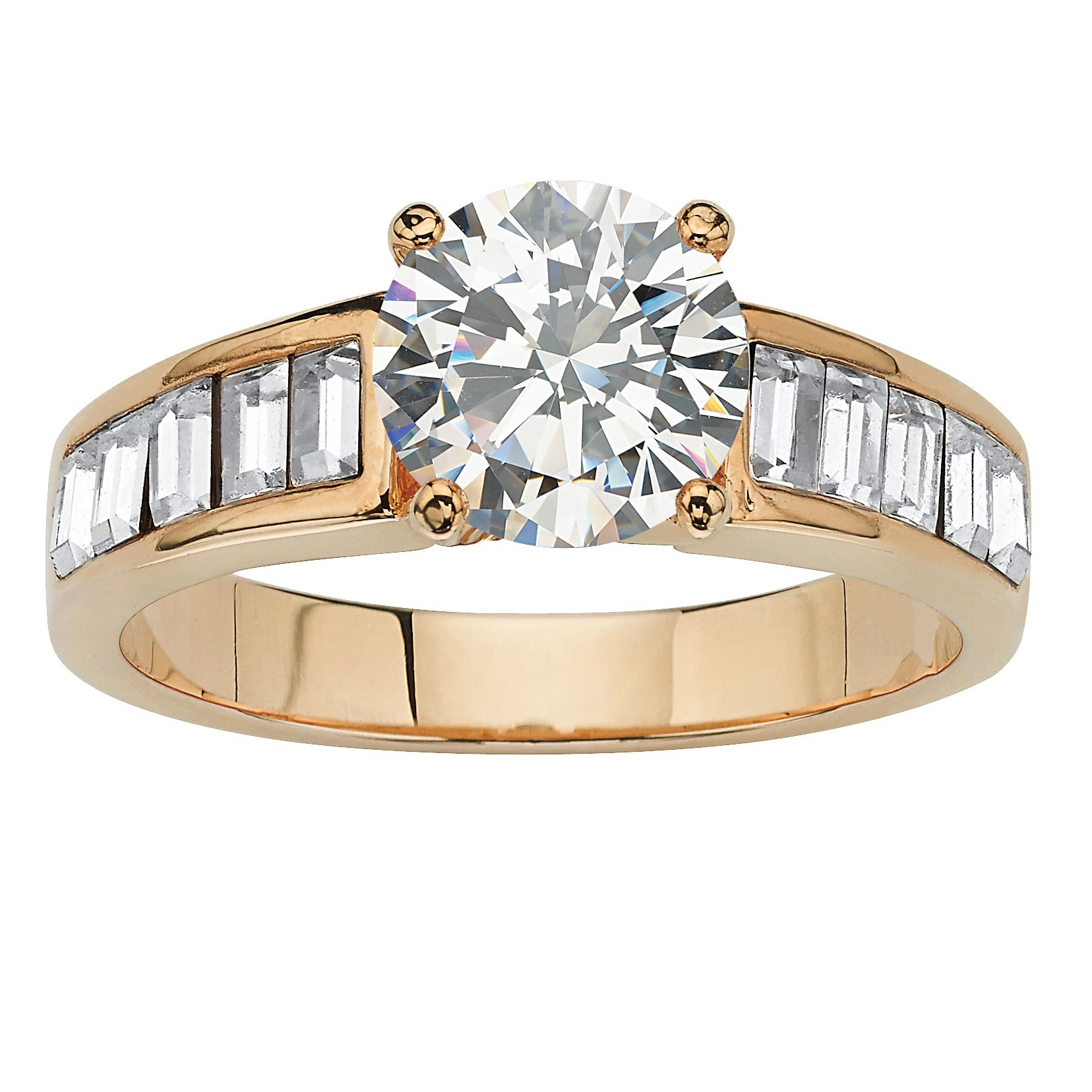 White Cubic Zirconia and Genuine Austrian Crystal Baguette Accent 14k Yellow Gold-Plated Ring Size 8
