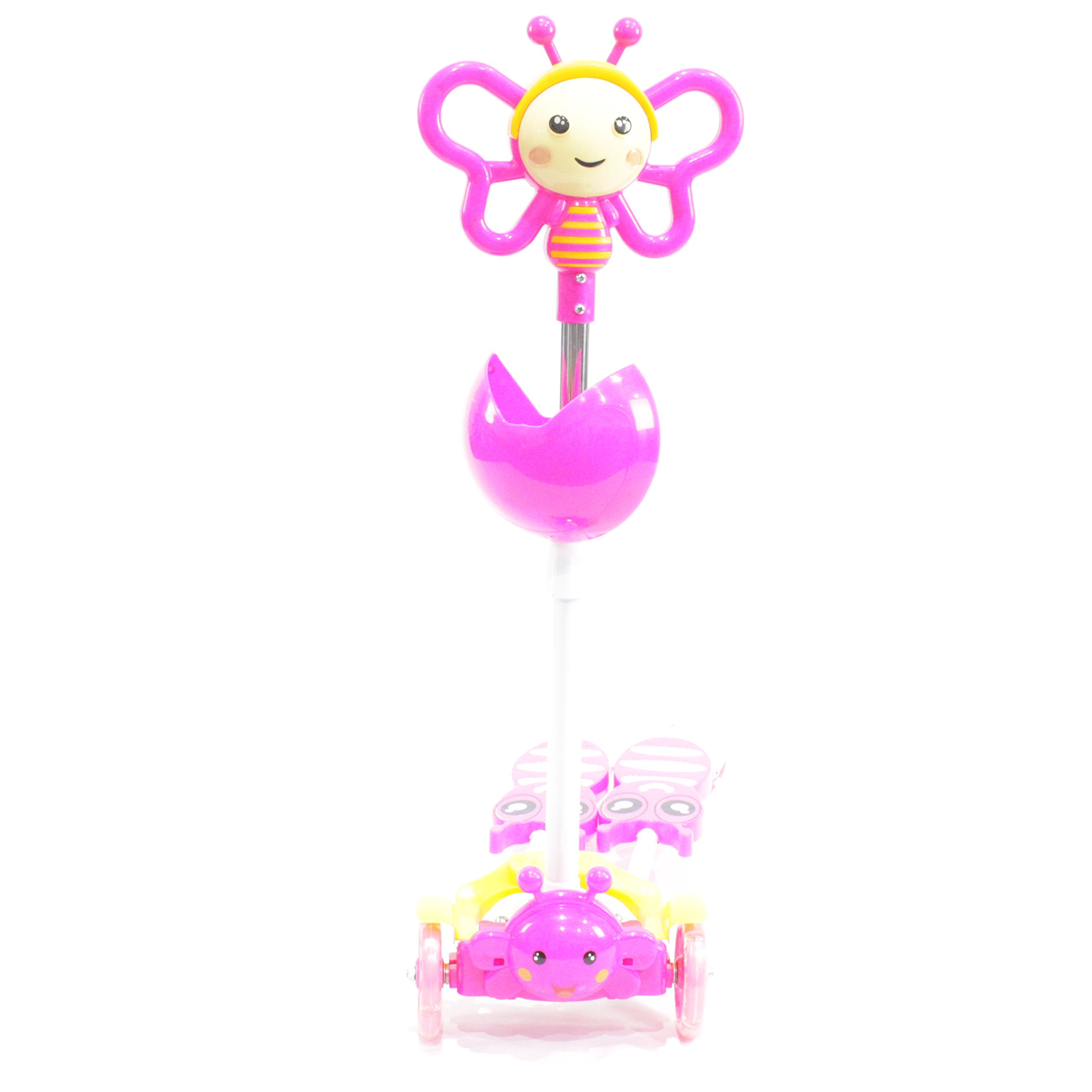 Kids 4 Wheels Scooter Kick Scooter-Bee Design-Pink Color