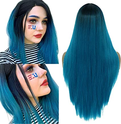 24inch Ombre Blue Long Wig Silky Straight Wigs for Women Wig with Natural Hairline Synthetic Party Wig Middle Part