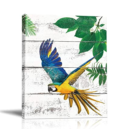 Birds Wall Art Canvas Painting Parrot Framed Prints Palm Leaves Tree Artwork Pictures Animal Poster Bedroom Home Decor 12x16in Picture 01