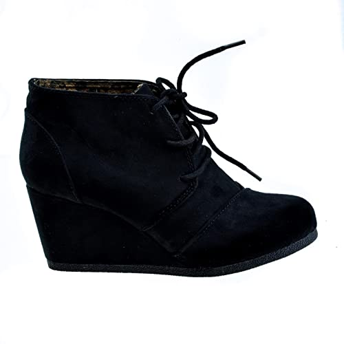 878421696582f Lace Up Oxford Ankle Bootie Round Toe High Hidden Wedge Heel Women's Shoe
