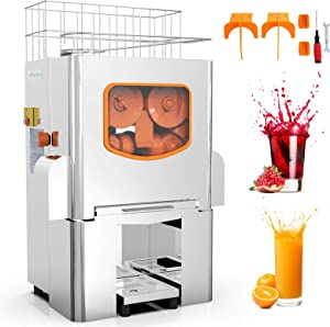 Commercial Orange Juicer Electric Orange Juice Squeezer Automatic Citrus Juice Machine Lemonade Making Machine, Heavy Duty Stainless Steel Cover, 120 Watts
