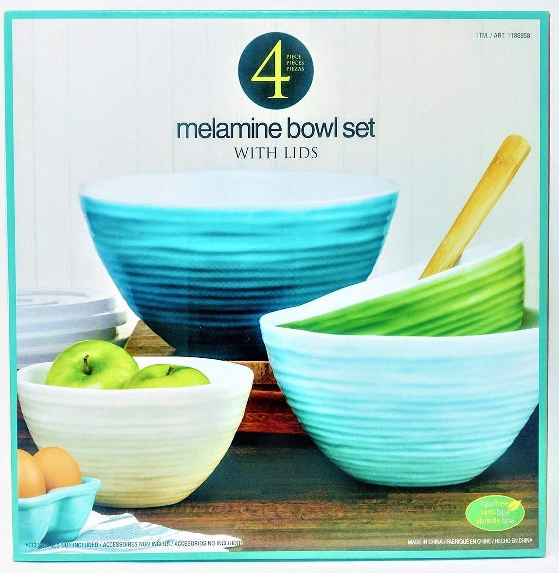 Melamine Mixing Bowl Set with Lids, 4 Pieces