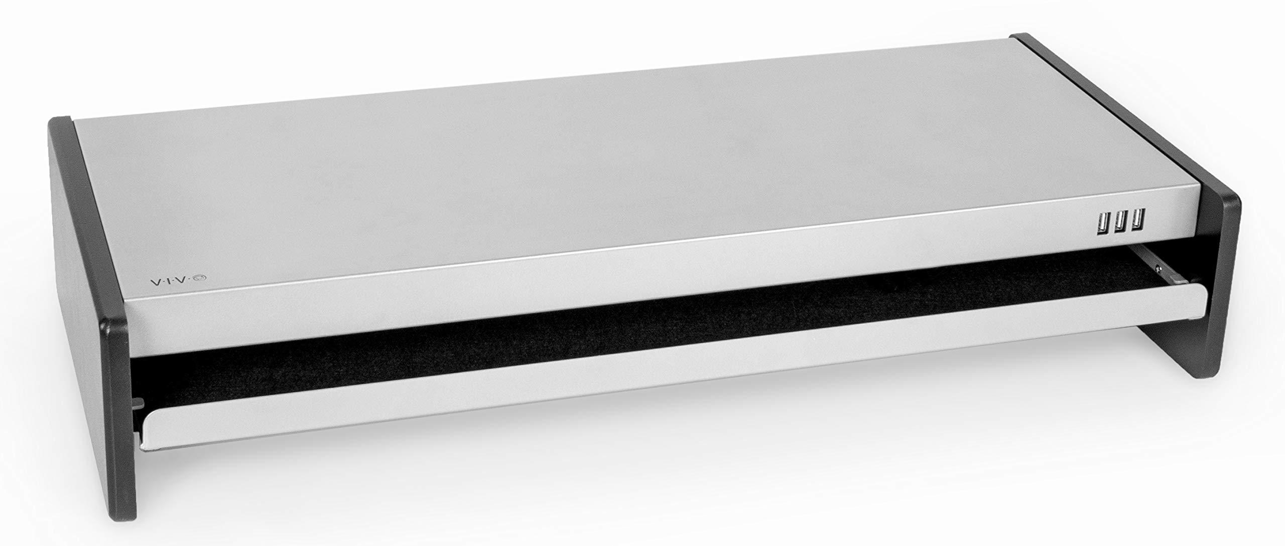 "VIVO Steel Ergonomic Desk Computer Monitor Laptop Printer Riser Stand | Desktop Organizer with Storage Drawer and 3 USB Ports 28"" (STAND-V000N)"