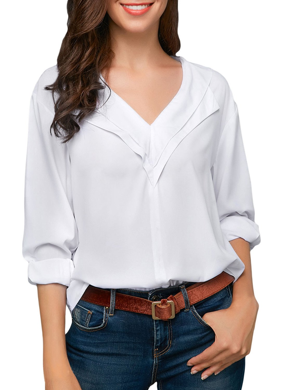 Sidefeel Women Casual Roll Sleeve V Neck Chiffion Blouse Tops Small White