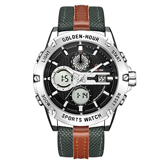 0b66ad672 Watches Men Sport Digital Analogue Waterproof Stainless Steel  Multi-Functional Military Green Leather & Fabric