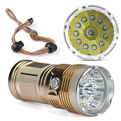 10principales LED Lampe torche tactique, 12000lm 12x T65modes Super Bright étanche Handheld lampe de camping pour la pêche chasse randonnée et activités de plein air