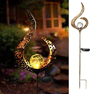 Solar Outdoor Garden Christmas Decorative Lights, Landscape Path Lights, Waterproof Crackle Glass Globe Stake Metal Lights for Lawn, Patio or Courtyard