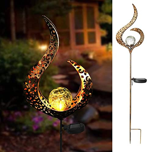 Beinhome Outdoor Solar Lights Garden Crackle Glass Globe Stake Lights,Waterproof LED Lights for Garden,Lawn,Patio or Courtyard