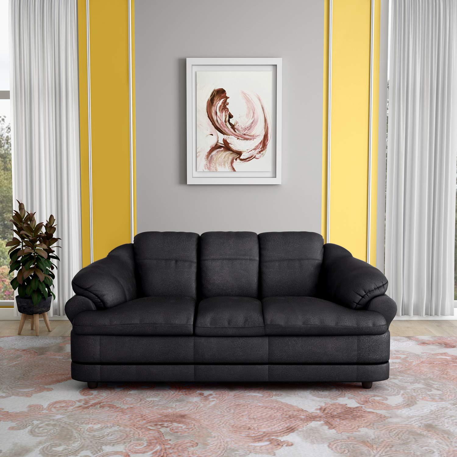 Godrej Interio Jineiro Three Seater Fabric Sectional Sofa (Matte
