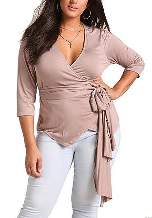 Deb Shops Debshops Womens Plus Size Wrap Jersey Knit Top At Amazon