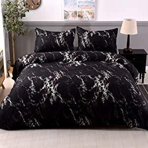 YMY Lightweight Microfiber Bedding Duvet Cover Set, Marble Pattern (Black, Queen)