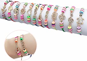 Elesa Miracle 12Pc Women Girl Rhinestone Woven Friendship Value Set Kids Party Favor Adjustable Bracelet, One Size, Multicolor