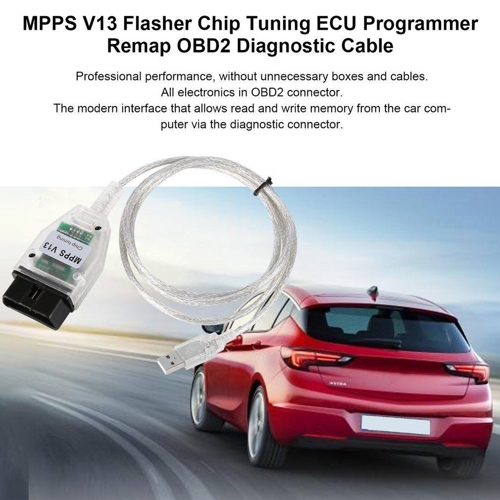 Laurelmartina Profesional MPPS V13 Flasher Chip Tuning ECU Programador Remap OBD2 MPPS V13 Cable de diagn/óstico con Multi-Language