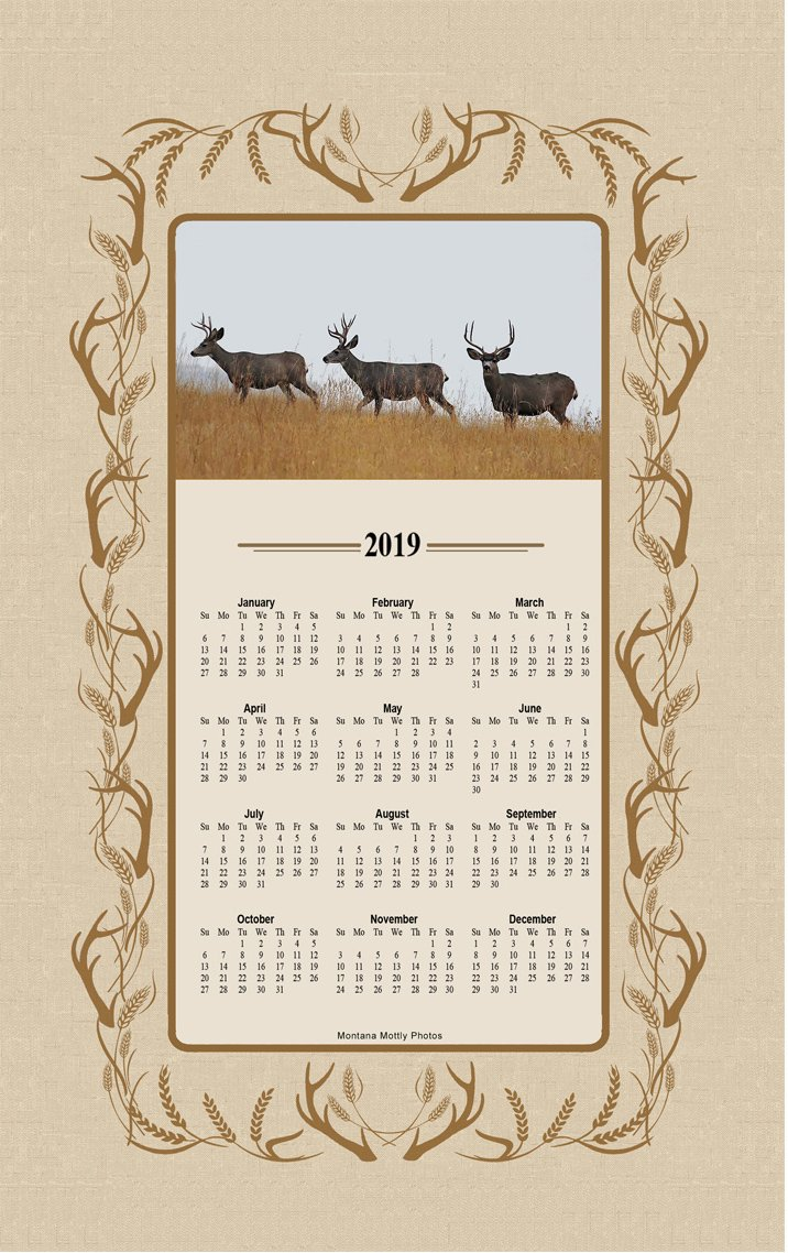 Montana Mottly Photos 2019 Three Deer Bucks Wildlifee Calendar Towel