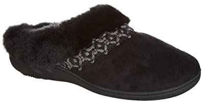 Isotoner Women's Microsuede Nola Hoodback Slipper, Small (6.5-7), Black