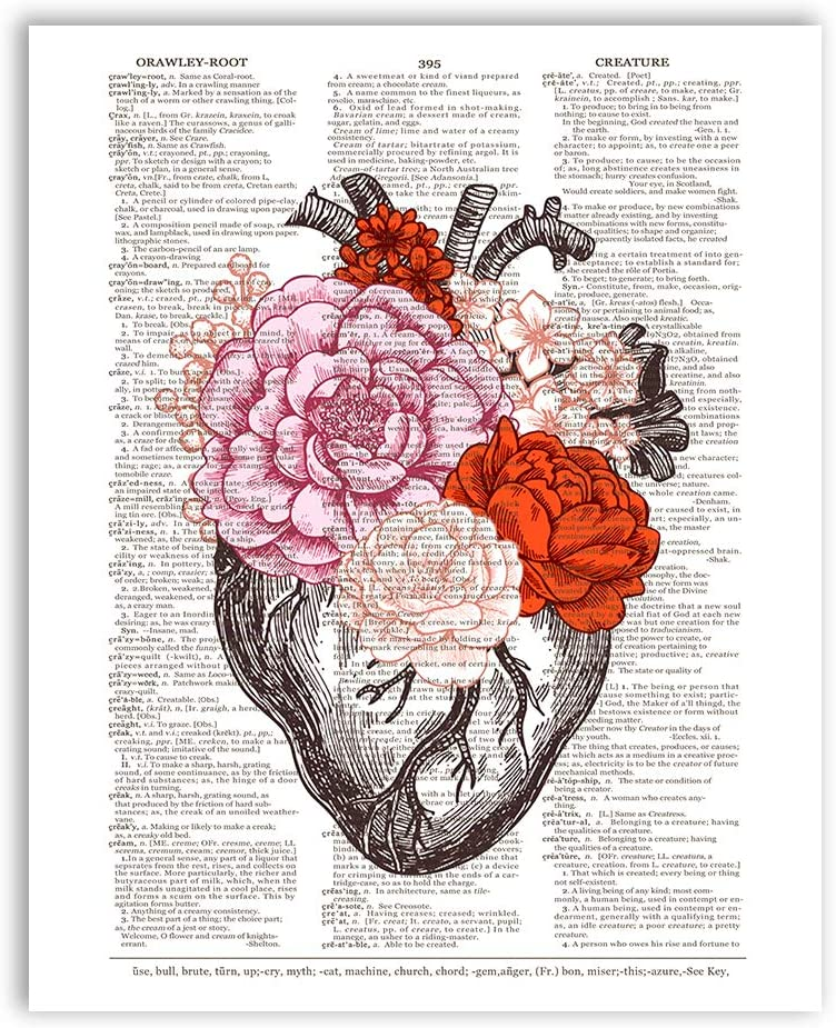 Anatomical Heart with Flowers Dictionary Page Art - 8
