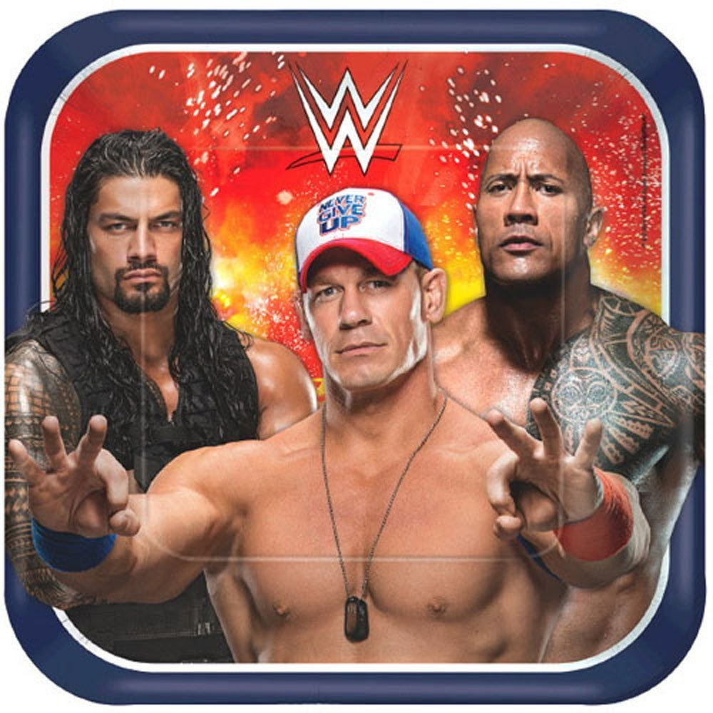 Grand Slammin' WWE Birthday Party Bundle 9'' Plates (16) Lunch Napkins (16) by Celebration Party Supply