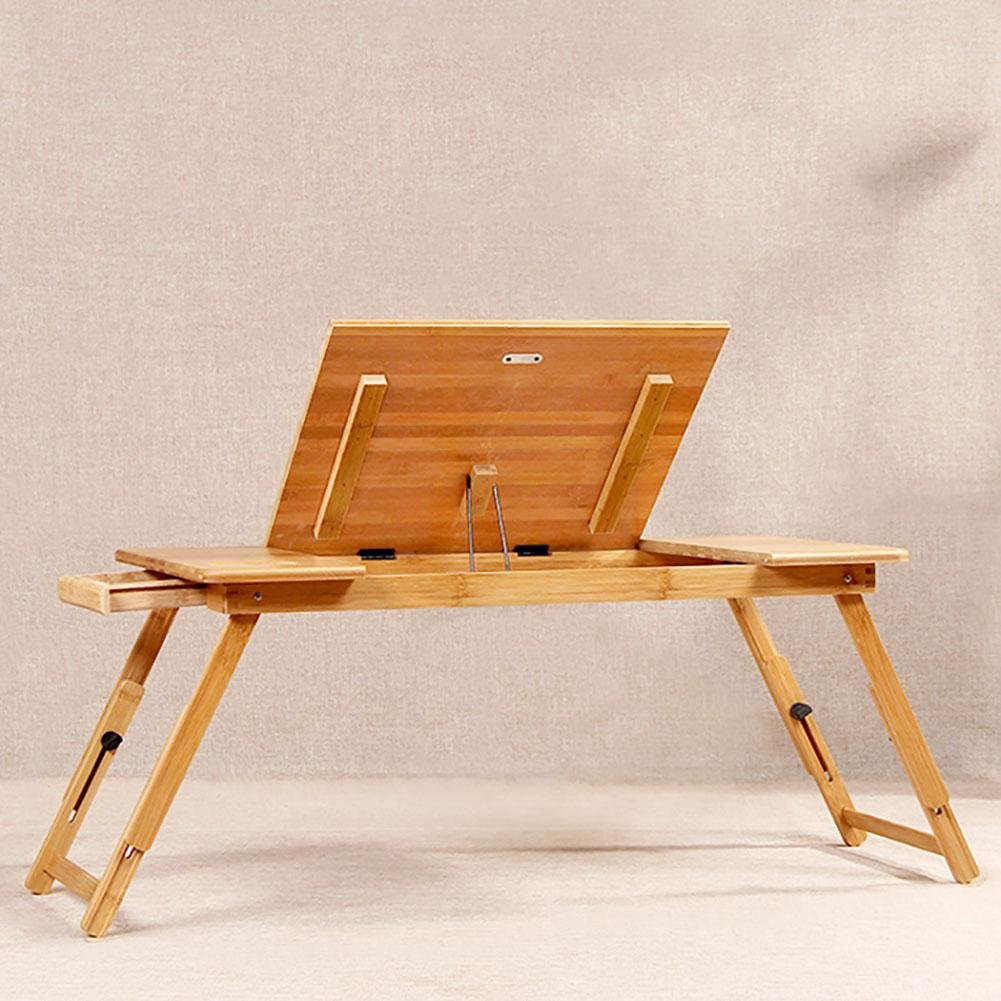 KSUNGB Laptop desk Bed Fold Lazy People Desk Writing desk Bed Desk Can lift up and down, Wood color, 7234cm