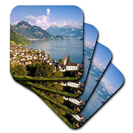 cst/_207078/_1 set of 4 Soft Coasters Switzerland 3dRose Lake Lucerne and the town of Weggis in the Swiss Alps