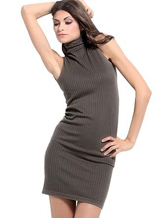 bd637b7857958 SENSI  Vestido de Punto Mujer Cuello Alto Sin Mangas Mini Viscosa Lana   Amazon.es  Ropa y accesorios