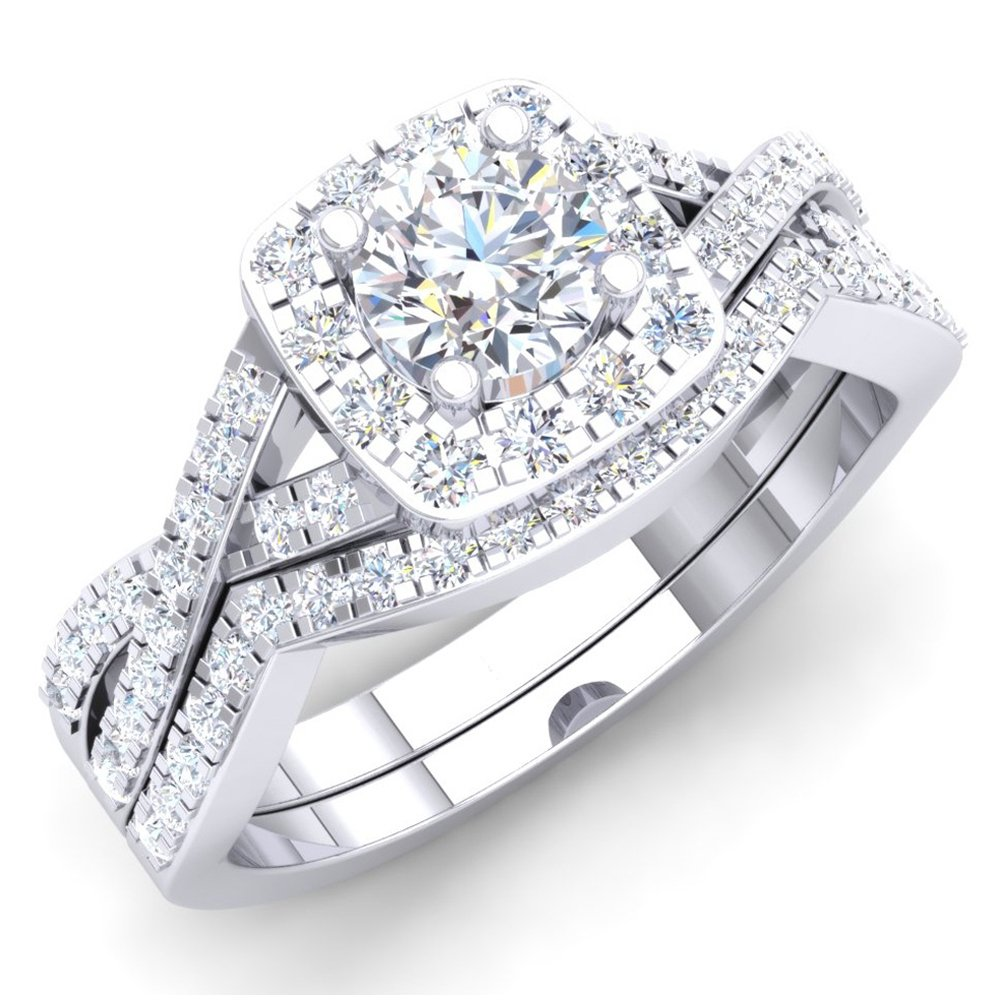 Dazzlingrock Collection 1.80 Carat (ctw) 10K Round Cubic Zirconia CZ Bridal Halo Engagement Ring Set, White Gold, Size 7.5