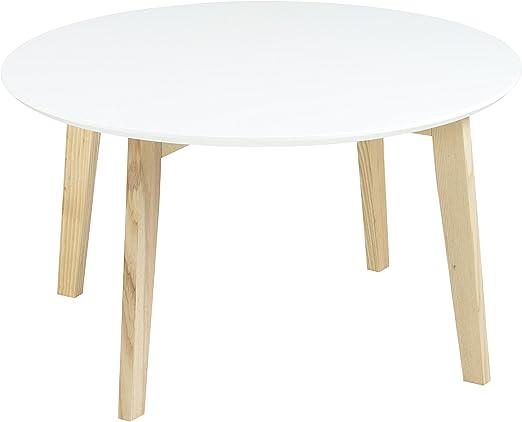 Mesa auxiliar redonda blanca de 50 cm de diámetro: Amazon.es: Jardín