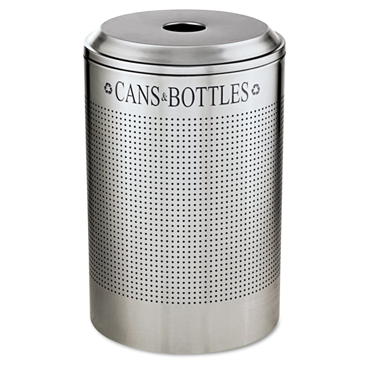 Rubbermaid Commercial Silhouette Can/Bottle Recycling Receptacle, Round, Steel, 26 Gallons, Silver (DRR24CSM)