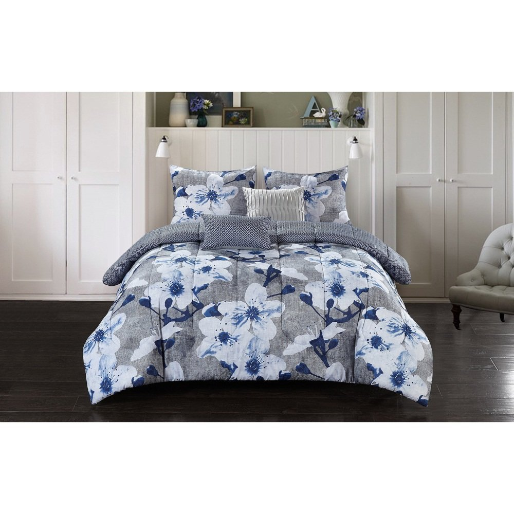 5pc Girls Grey Blue Floral Theme Comforter Queen Set, Chic Flowers Themed, Off White Light Gray, Girly Pretty Flower Bedding, Geometric Pattern
