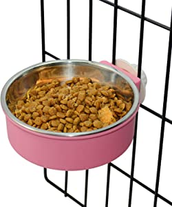 Hifrenchies 2 in 1 Crate Dog Bowl Removable Stainless Steel Water Food Feeder Bowls Cage Cup Bowl for Small Middle Dog and cat, French Bulldog slowing Feeding Food and Water Bowl