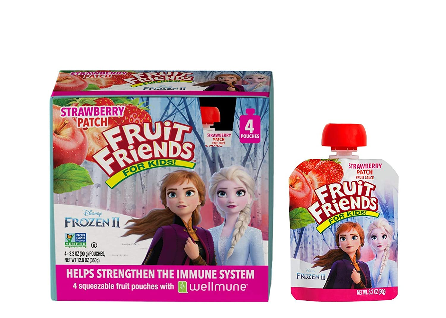 Frozen 2 Fruit Friends Strawberry Patch Applesauce With Wellmune - 3.2 Ounce (24 BPA Free Pouches) - Gluten Free - Dairy Free - Allergen Free - No Added Sweeteners