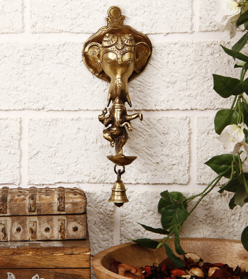 Ganesha Brass Wall Hanging Deepak with Bell