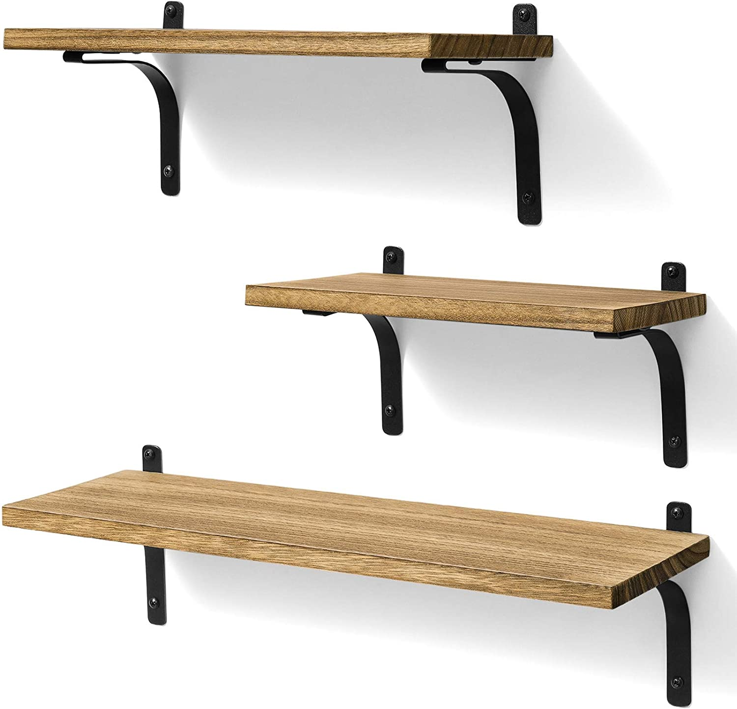Ophanie Floating Shelves Wall Mounted, Rustic Wood Wall Storage Shelves for Home Decor Bedroom, Living Room, Bathroom, Kitchen, Office, Set of 3